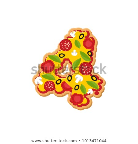 Number 4 pizza font. Italian meal alphabet numeral four. Lettrin Stock photo © popaukropa