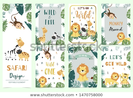 Sticker design for wild animals on green background Stock photo © bluering