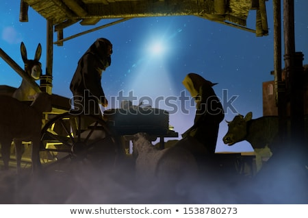 Stock photo: Mary and Joseph Christian Illustration Silhouettes