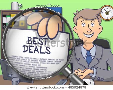 legjobb · ajánlat · nagyító · firka · üzletember · öltöny - stock fotó © tashatuvango