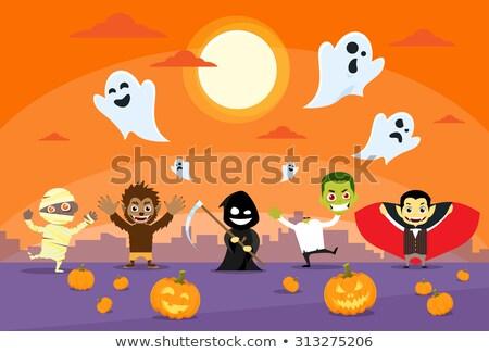 mutlu · halloween · kart · dizayn · çocuklar · metin - stok fotoğraf © krisdog