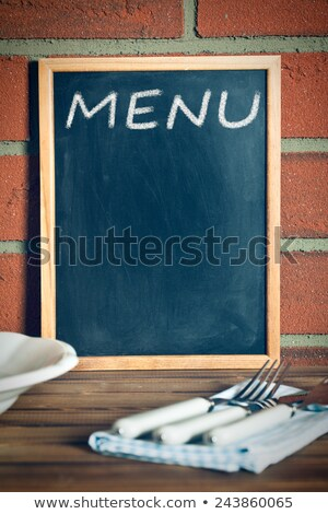 menu · Blackboard · mes · vork · tabel · plaat - stockfoto © jirkaejc