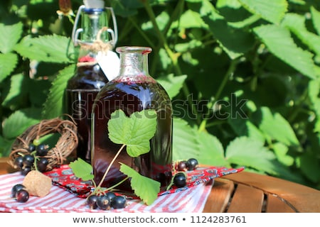 Stock photo:  black currant in wooden spoons on rustic  table