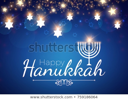 Happy Hanukkah with candles and gold Stock photo © bluering