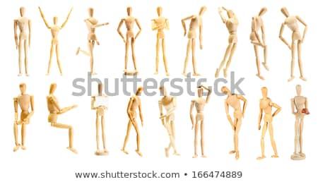 木製 小さな像 立って 手 膝 白 ストックフォト © wavebreak_media