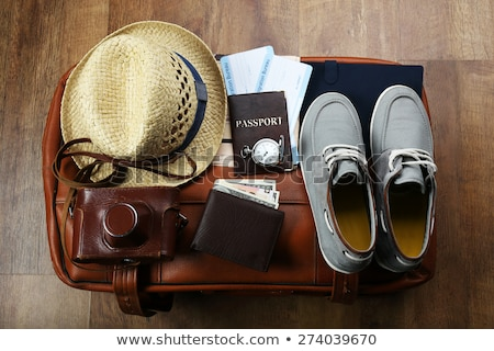 Retro suitcases, passport and airline tickets Stock photo © LoopAll