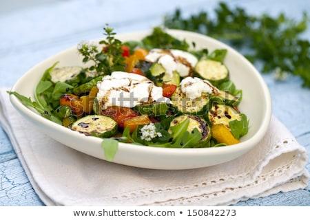 Vegetales ensalada queso de cabra fondo cena frescos Foto stock © M-studio