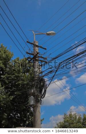 ışık kutup dağıtım transformatör dağınık telleri Stok fotoğraf © lunamarina