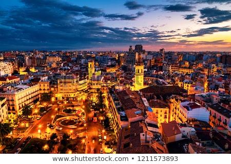 Valencia óváros városkép Spanyolország sziluett naplemente Stock fotó © joyr