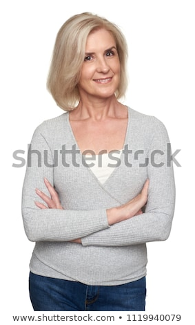 portrait of joyful attractive blonde woman in casual clothes Stock photo © feedough