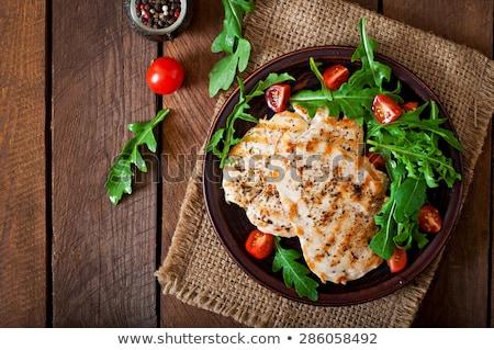 csirkemell · zöldség · gyümölcs · étel · fa · asztal - stock fotó © M-studio