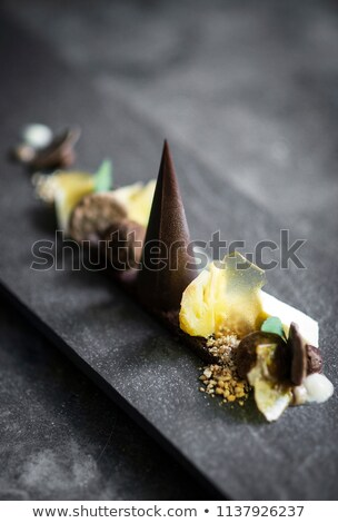 gourmet modern deconstructed chocolate cake and dried fruit dess Stock photo © travelphotography