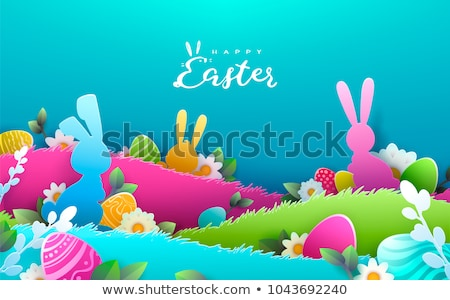 Vector Easter Egg Hunt Party Flyer Illustration with flowers in cutting egg silhouette and typograph Stock photo © articular