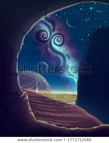 A crescent moon from cave view Stock photo © bluering