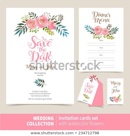 Bağbozumu düğün kartları toplama Stok fotoğraf © SelenaMay