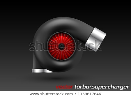 Vector car turbocharger isolated on dark background. Realistic black turbine with red fan icon Stock photo © Iaroslava