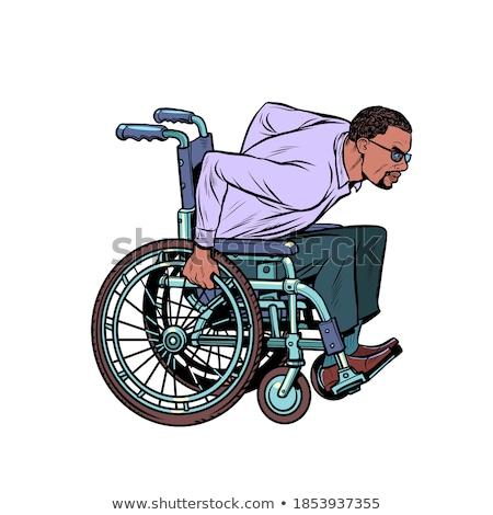 Geçersiz özürlü işadamı siyah takım elbise oturma tekerlekli sandalye Stok fotoğraf © ia_64