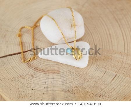 Turkoois kostbaar steen ketting sieraden detailhandel Stockfoto © lunamarina