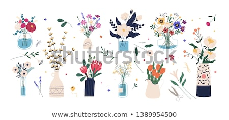 cutting garden flowers illustration stock photo © lenm