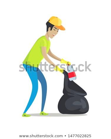 Vent vuilnis rubberen handschoenen pack zwarte man Stockfoto © robuart