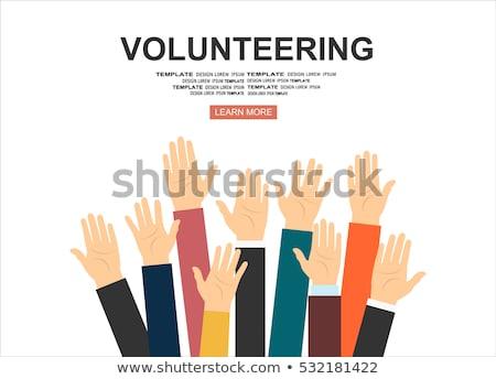 önkéntesség kéz kiemelt felfelé buli boldog Stock fotó © makyzz
