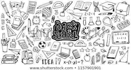 Back to school design with alarm clock and hand drawn doodles typography lettering on black chalkboa Stock photo © articular