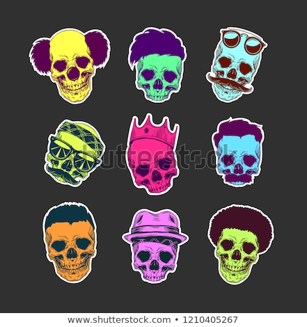 Human Skull with Sunglasses and Color Hairstyle Stock photo © robuart