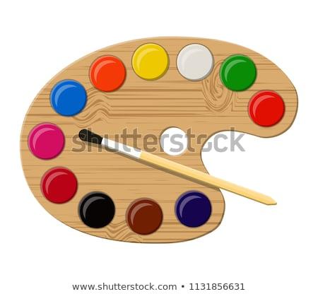 Vektor fából készült művészet paletta festék izolált Stock fotó © freesoulproduction