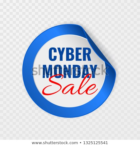 Cyber Monday sale black round sticker with curled corners on transparent background, vector illustra Stock photo © olehsvetiukha