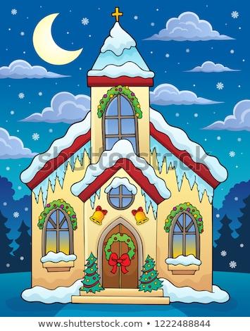 Navidad edificio de la iglesia imagen edificio luna arte Foto stock © clairev