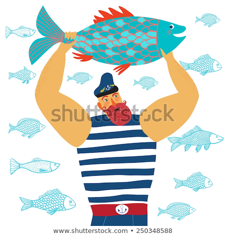 fisherman with fish in hands vector illustration stock photo © robuart