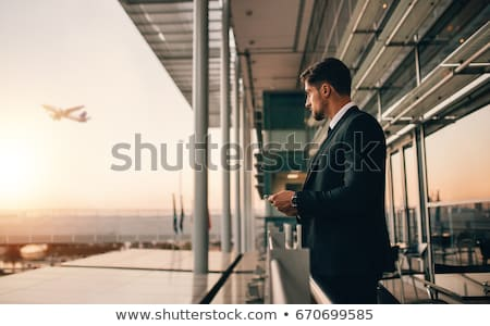 Adam bekleme uçuş havaalanı genç kafkas Stok fotoğraf © nito
