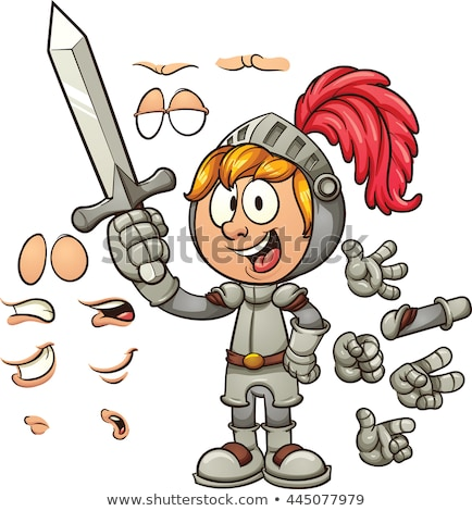 lovag · páncél · rajz · illusztráció · vicces · kard - stock fotó © cthoman