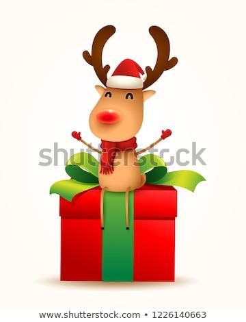 vidám · karácsony · rénszarvas · ajándék · ajándék · hó - stock fotó © ori-artiste