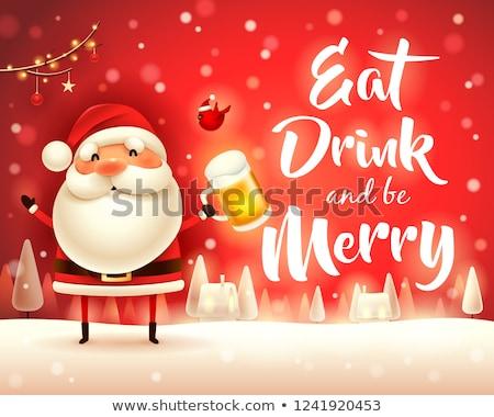 陽気な クリスマス サンタクロース ビール 雪 シーン ストックフォト © ori-artiste