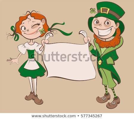 Cartoon · sonriendo · irlandés · mujer · mujer · sonriente · feliz - foto stock © cthoman