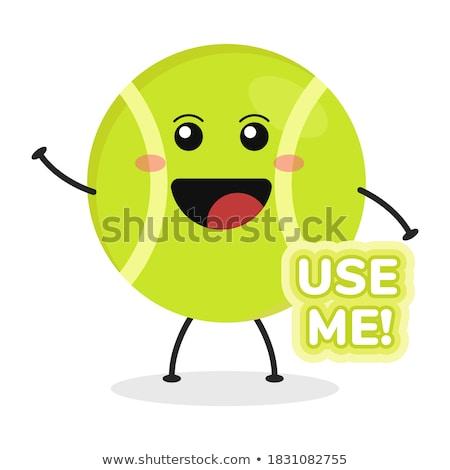 Cute теннисный мяч изолированный белый лице Сток-фото © hittoon