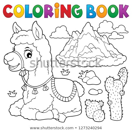 Coloring book llama near mountain Stock photo © clairev