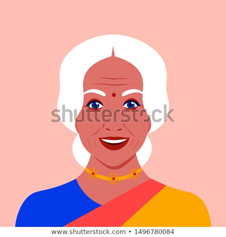 Indian Old Woman In Sari Vector. Elderly People. Hindu. Asian. Senior Person. Aged. Activity. Advert Stock photo © pikepicture