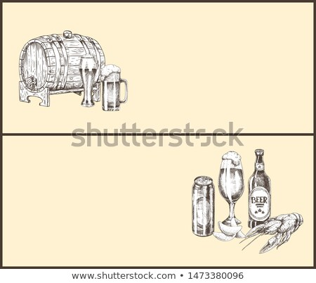 Beer Barrel, Bottle, Can, Glass and Snack Landing Page Stock photo © robuart