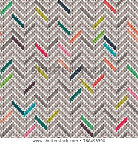 Multicolor seamless knit pattern Zigzag embroidery Stock photo © ESSL