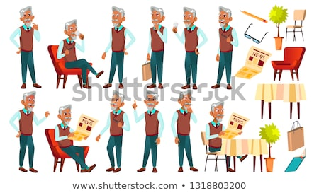 old man elderly male with newspaper set vector stock photo © robuart