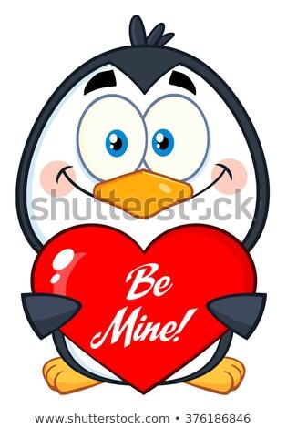 Gülen penguen mayın valentine Stok fotoğraf © hittoon
