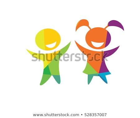 Przedszkole logo szczęśliwy dzieci grać ikona Zdjęcia stock © blaskorizov