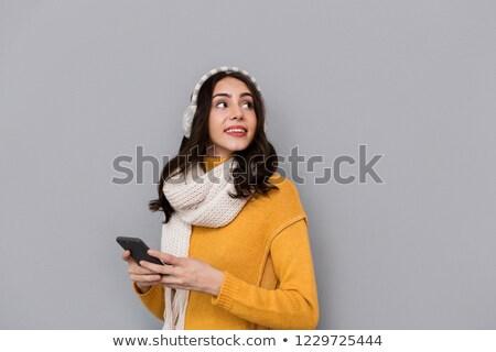 Portrait brunette femme oreille écharpe Photo stock © deandrobot
