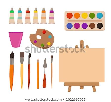 水彩画 塗料 アーティスト 職場 木製 ストックフォト © Illia