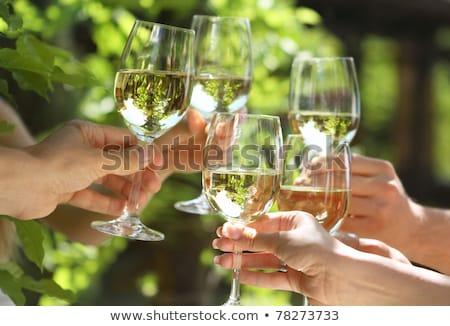 emberek · tart · szemüveg · fehérbor · készít · pirítós - stock fotó © dashapetrenko