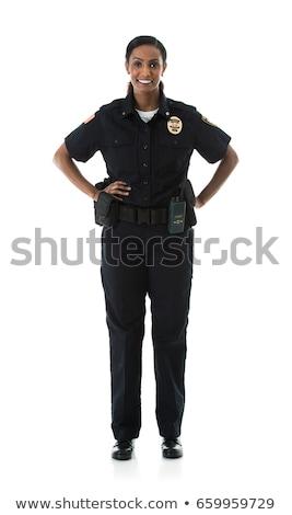 Policewoman in black and white uniform Stock photo © colematt