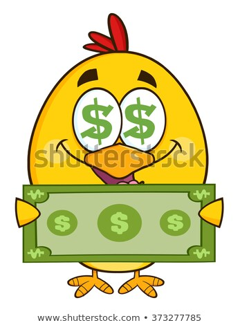 Cute Yellow Chick Cartoon Character With Dollar Symbol Eyes, Holding Cash Money Stock photo © hittoon
