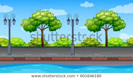 trottoir · vert · parc · illustration · cartoon · urbaine - photo stock © colematt